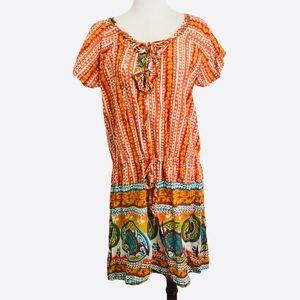 World Market Boho drawstring tie dress